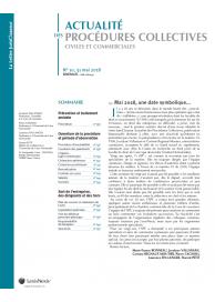 Actualité des Procédures Collectives civiles et commerciales