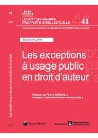 Les exceptions à usage public en droit d'auteur (IRPI N°41)